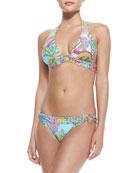 Coral Reef Printed Halter Bikini Top & Side-Buckle Swim Bottom
