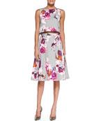 Mara Floral-Print Crop Top & Milan Pleated Floral-Print Skirt