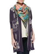 Cynthia Embroidered Duster Cardigan, Cynthia Scoopneck Embroidered Tee & Taylor Printed Silk Scarf