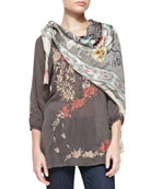 Ombre Rose Embroidered Blouse & Cloudy Silk Georgette Scarf, Women's