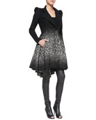 Carth Puff-Shoulder Flared Coat, Silk Loose Crinkle Tank Top & Leather Leggings
