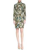 Long-Sleeve Crisscross Floral Bolero & Sleeveless Floral Sheath Dress