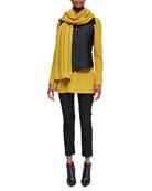 Boiled Wool Parka Vest, Slim Stretch Ankle Jeans & Super-Soft Yak/Merino Scarf, Petite