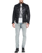 Jurvi Padded Nylon Moto Jacket, T-Rolt Feather-Skeleton Tee & Thavar 0834C Skinny Jeans