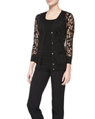 Button-Down Leopard Burnout Cardigan & Ribbed Scoop-Neck Tank