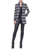 Tweed Drawstring-Collar Jacket, Dot-Detail Top & Leather and Jersey Leggings