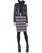 Faux-Leather and Jersey Moto Jacket, Mock-Neck Top & Jersey Jacquard Tweed Skirt
