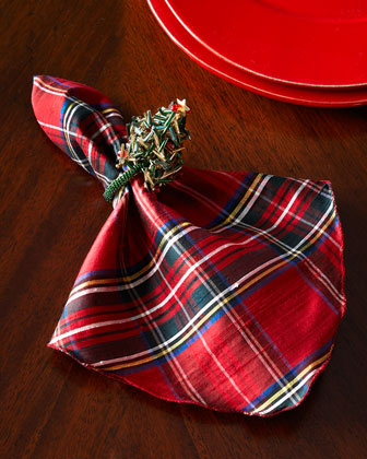 Plaid Napkin & Holiday Napkin Rings