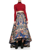 Knit Mock-Neck Cropped Top & Cohe Printed High-Low Maxi Skirt