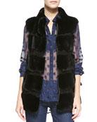 Funnelia Zip-Front Fur Vest & Lorelei Two Cosmic Twinkle Blouse