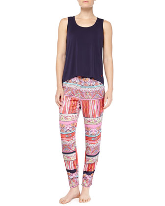 Modal Jersey Arched Tank Top & Katina Mixed-Print Harem Pants
