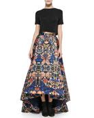 Short-Sleeve Crewneck Crop Top & Cohe Printed Asymmetric Skirt