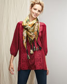 Flower Crochet Tunic & Dragon Printed Silk Scarf