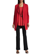 Silk-Cotton Interlock Long Jacket, Silk Jersey Long Tunic & Slim Boot-Cut Pants