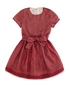 Polka-Dot Tulle Dress, Burgundy