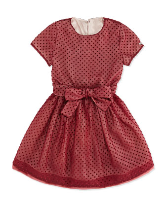 Polka-Dot Tulle Dress, Burgundy, Girls' 6A-9A