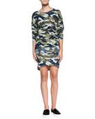 Lisa Camo-Print Knit Sweatshirt & Camo-Print High-Low Skirt