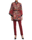Leather Belted Paisley Poncho, Cotton Long-Sleeve Shirt & Classic Ankle Pants
