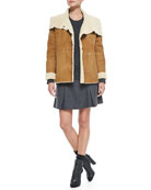Bi-Tone Lamb Shearling Jacket, Cable Knit Crewneck Sweater & Pleated Flared Wool Skirt