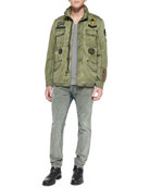 J-Amma Military Jacket w/ Patches, T-Tossik Slub Tee & Belther 835F Gray Wash Jeans
