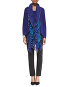 Angled Open Front Cardigan, Jersey Muscle Tee, Slim Ponte Pants & Handloomed Ruffle Scarf