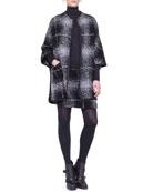 Oversize-Check Combo Boucle Cape & Combo Skirt