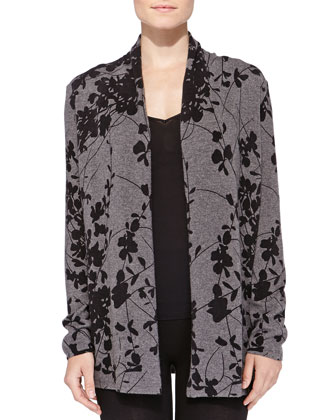 Cashmere Asian Floral-Print Cardigan