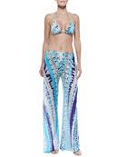 Printed Triangle String Bikini Two-Piece & Printed Coverup Trousers