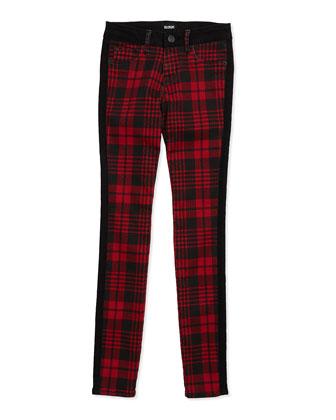 Leeloo Skinny Plaid Denim Jeans, Red/Black
