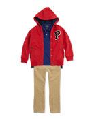 Fleece Snap-Button Hoodie, Stretch-Mesh Polo & 14-Wale Corduroy Pants, 2T-3T
