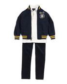 Twill Varsity Jacket, Big Pony Rugby Jersey Polo & 14-Wale Corduroy Pants