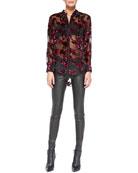 Sheer Floral Velvet Burnout Blouse & Leather Leggings