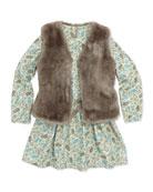 Faux-Fur Vest & Feather-Print Dress, Girls' Sizes 2-6