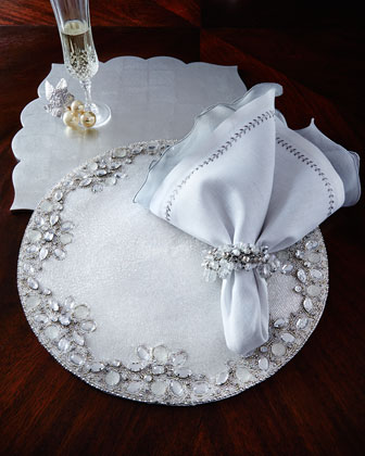 White & Silver Placemats, Napkins, & Napkin Ring