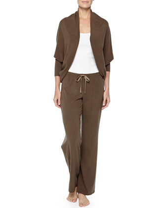 Peachy Jersey Cocoon Sweater & Drawstring Pants, Olive