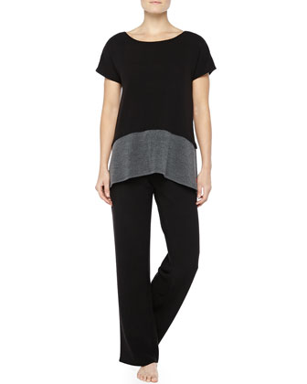 Two-Tone Brushed Jersey Top & Drawstring Pants, Black/Gray