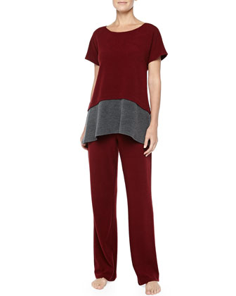 Two-Tone Brushed Jersey Top & Drawstring Pants, Red/Gray
