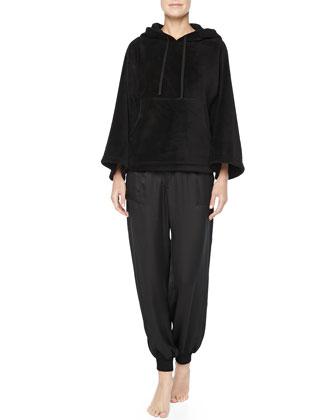 Roza Satin Harem Pants & Hooded Fleece Popover, Red/Black