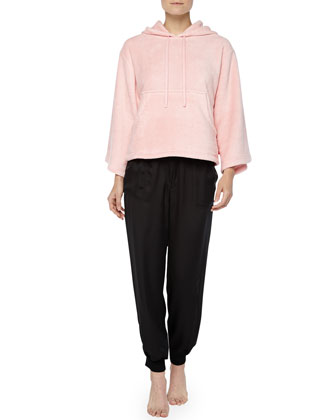 Roza Satin Harem Pants & Hooded Fleece Popover, Blush/Black