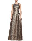 Torchon Sleeveless Metallic Tank & Margarete High-Low Metallic Skirt