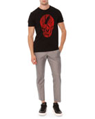 Plaid-Skull Jersey Tee & Houndstooth Cotton-Silk Trousers