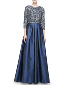 3/4-Sleeve Cropped Sequined Jacket & Beaded Bodice Full-Skirt Combo Gown