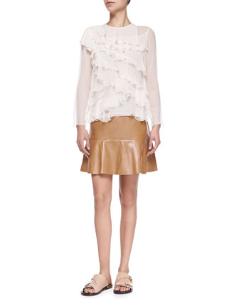 Long-Sleeve Tiered Blouse & Leather Mini Skirt