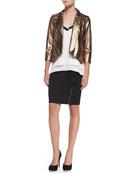 Ace Metallic Cropped Leather Jacket, Tessa Spaghetti-Strap Silk Tank & Angela Ruffled Zipper Pencil Skirt