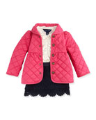 Quilted Barn Jacket, Ruffled Knit Blouse & Tiered Lace Skirt