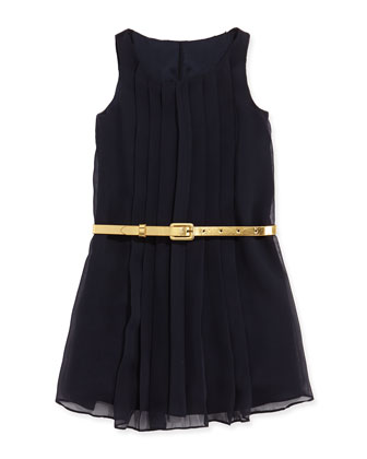 Sleeveless Pleated Chiffon Dress