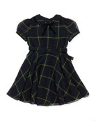 Tartan-Plaid Chiffon Dress