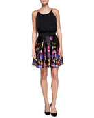 Stretch-Silk Pleated Tank Top & Katie Bouquet Floral-Print Skirt