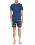 Short-Sleeve Henley Shirt & Camo-Print Swim Trunks