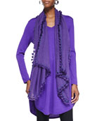 V-Neck Merino Wool Shirttail Dress & Hand-Loomed Breezy Wool Scarf with Tassels, Women's